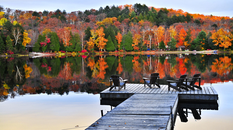 Wooden dock on autumn lake Michigan